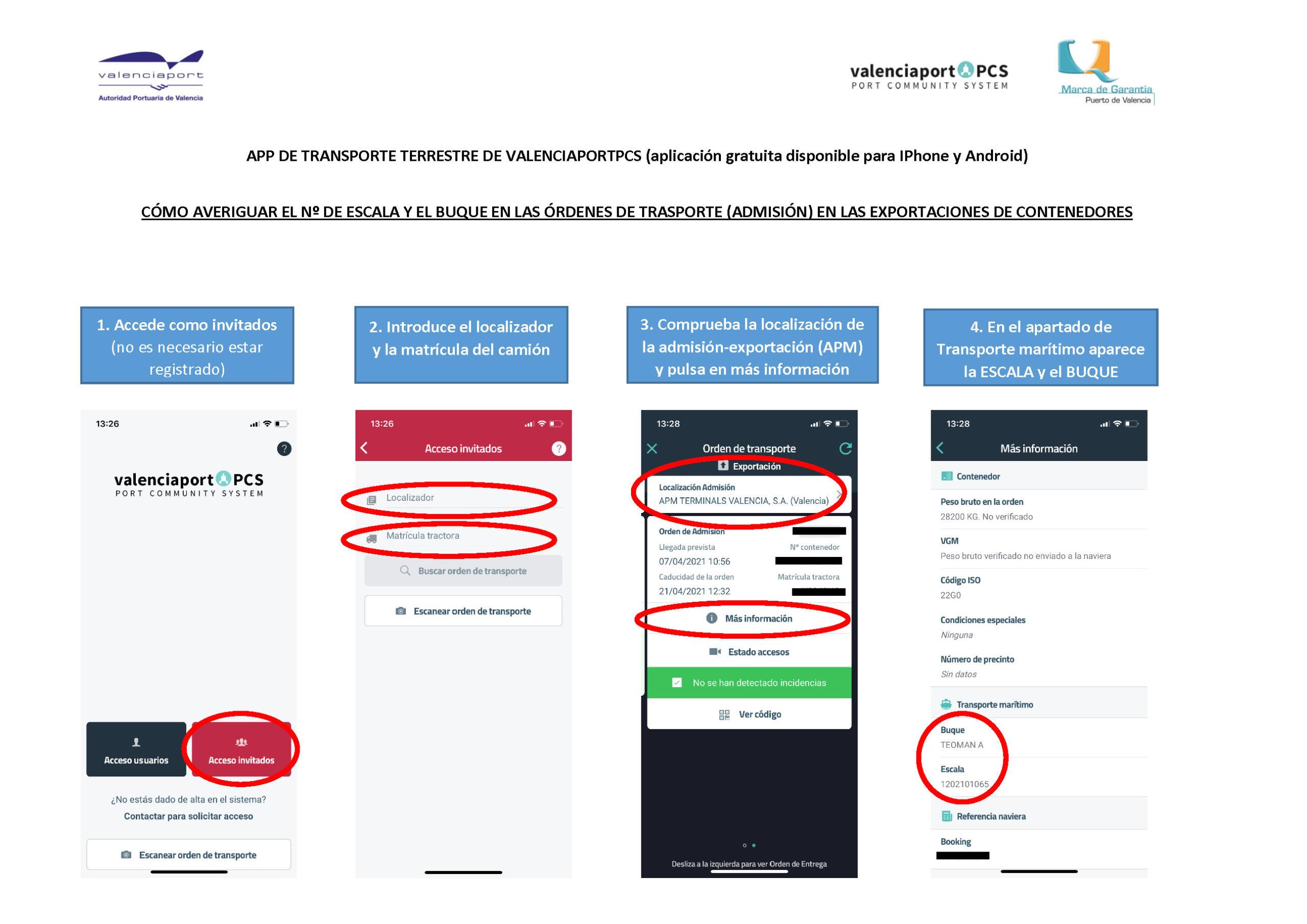 Información escalas abiertas en APM Terminals Valencia